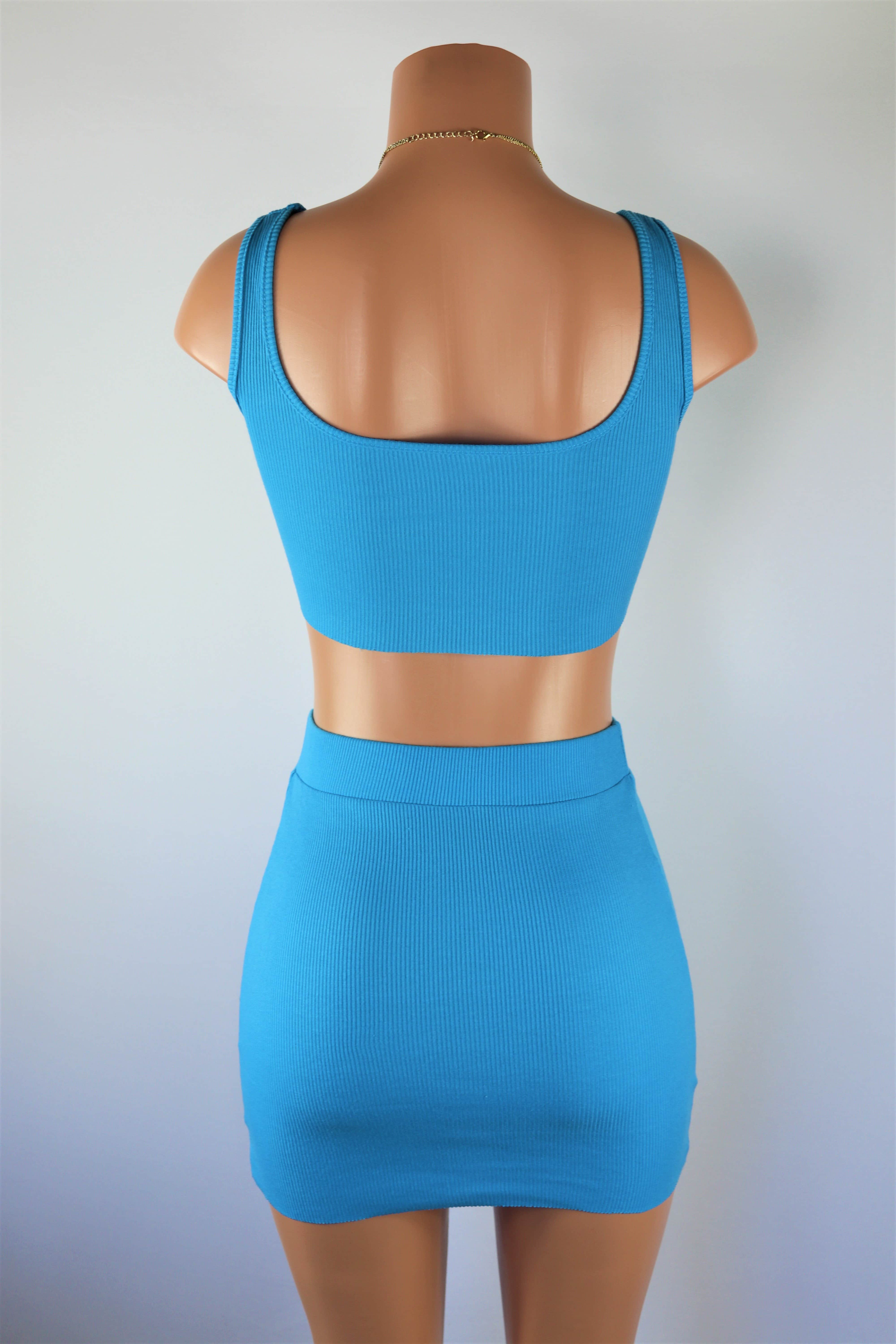 Sky Blue Set - Blue ribbed crop top and high waisted skirt