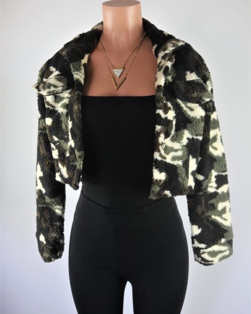 Camo Teddy Crop Jacket