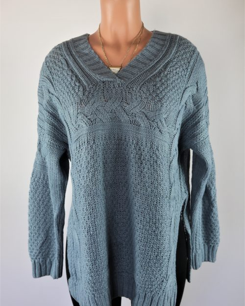 Blue Slit Sweater
