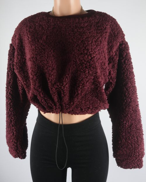 Chyann Teddy Crop Sweater Top