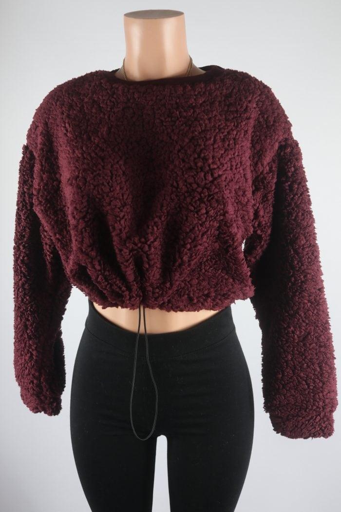 Chyann Teddy Crop Sweater Top