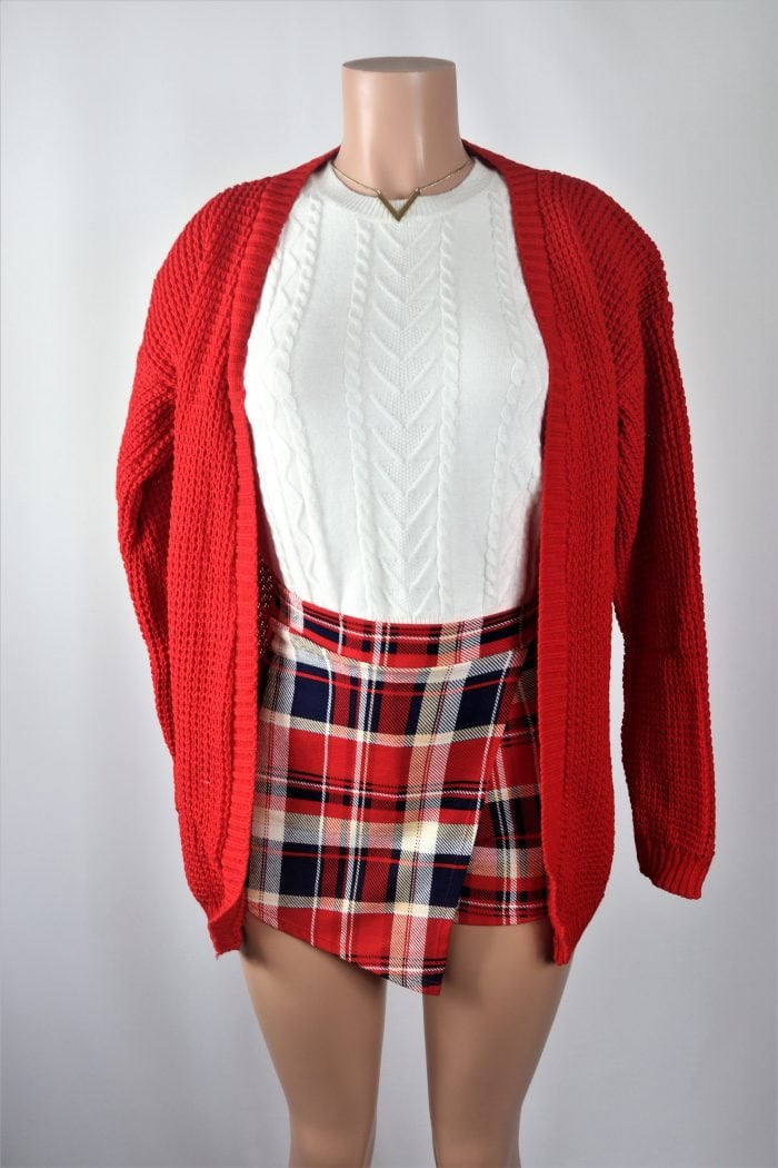 Red Plated Cardigan1