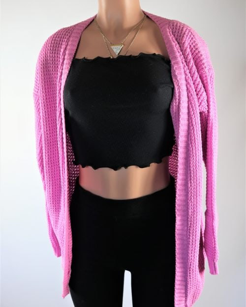 Pink Plated Cardigan