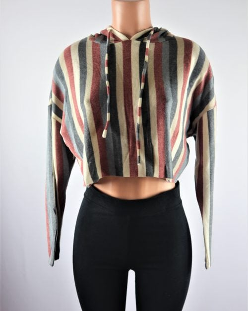 Stripe Hooded Crop Top