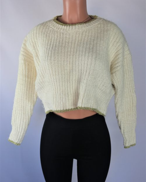 Gold Trim Cream Sweater