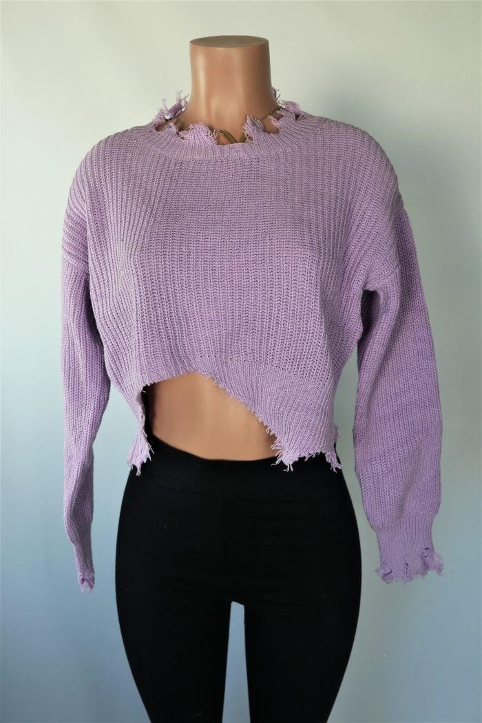 Lavender Distress Crop Sweater