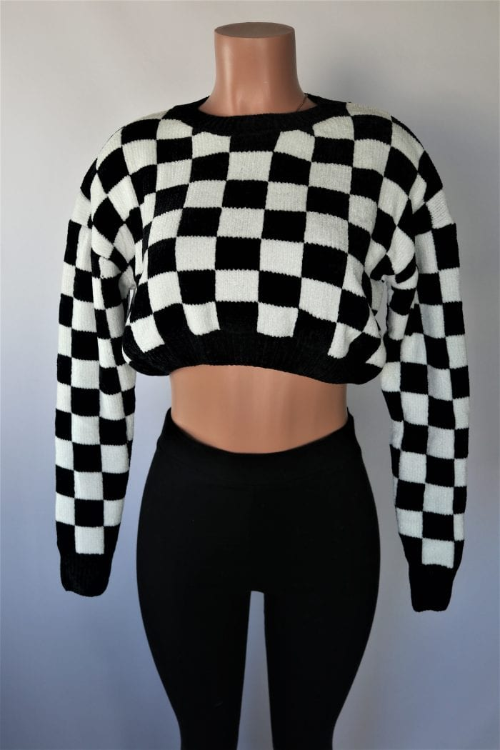 Check Up On It Crop Sweater