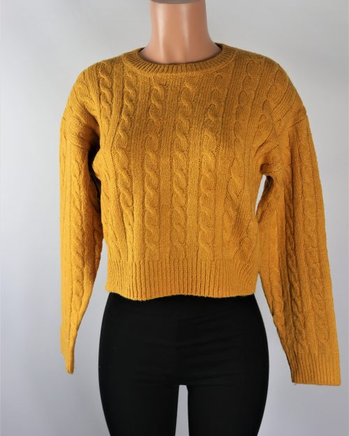 Gold Cable Knit Sweater