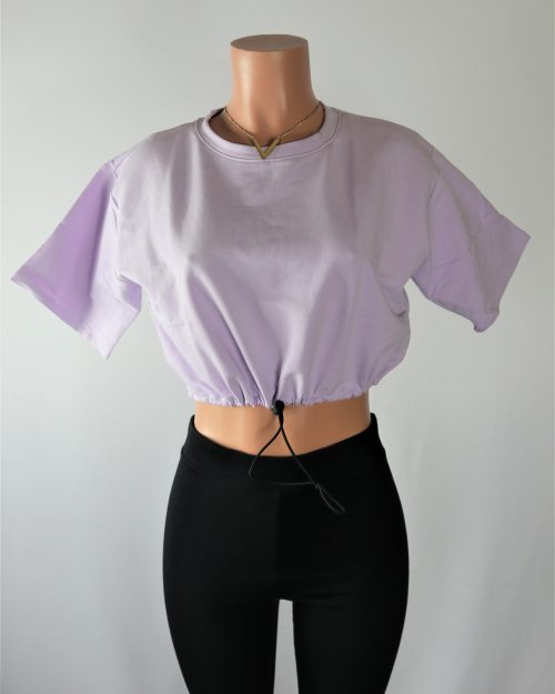 Lavender Drawstring Crop Top