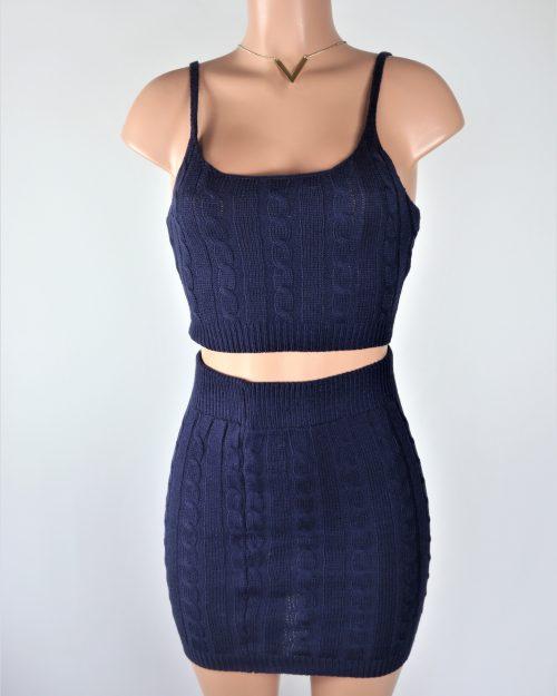 Blue Cable Knit Skirt Set