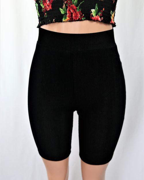 Velvet Ribbed Biker Shorts