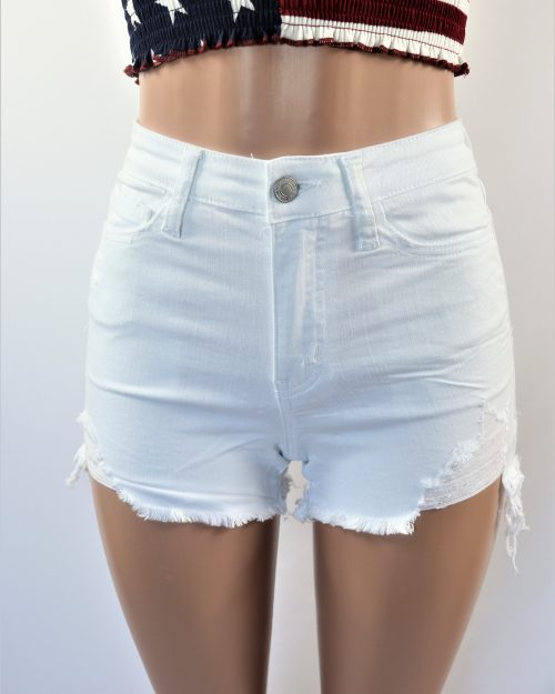 White Ripped Shorts