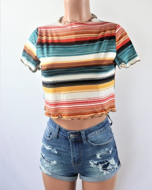 Stripe Boxy Cut Crop Top