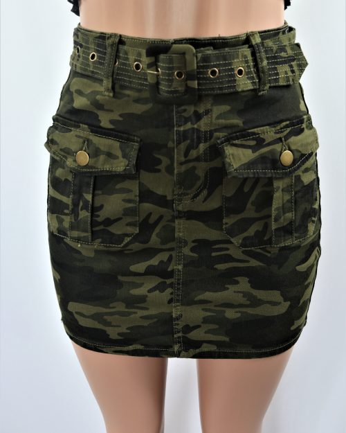 Belted Camo Skirt