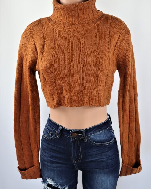Rolled Knitted Crop Top