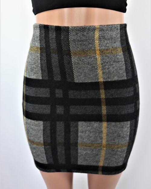 Brushed Plaid Skirt
