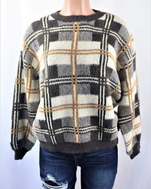 Fuzzy Checkered Sweater