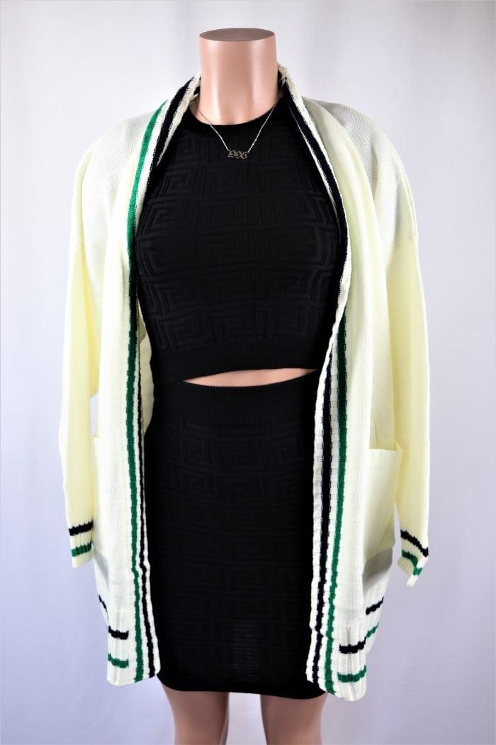 Ivory Striped Cardigan