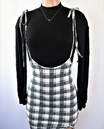 Sofie Plaid Tied Suspender Skirt