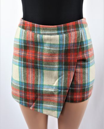 Asymmetric Plaid Skort