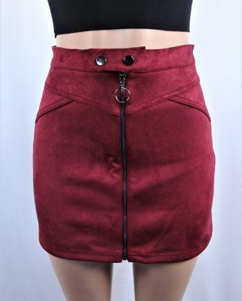 Circle Zipper Suede Skirt