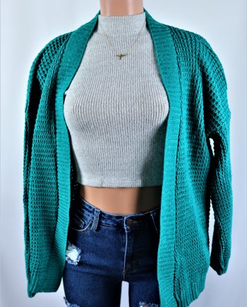 Green Plated Cardigan