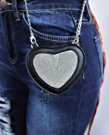 Mini Heart Rhinestone Crossbody Bag